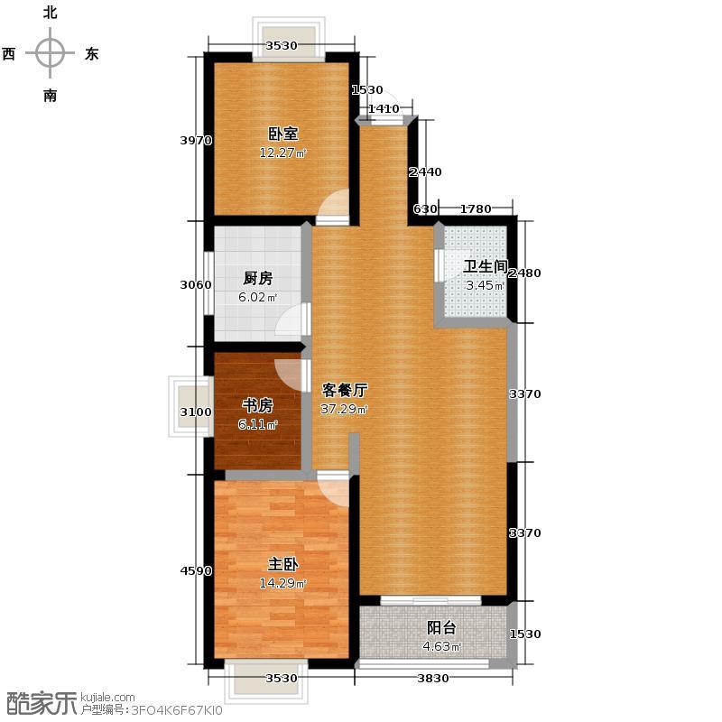 紫气东来117.44㎡A户型3室2厅1卫