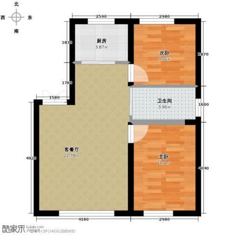 御景名都2室2厅1卫0厨80.00㎡户型图