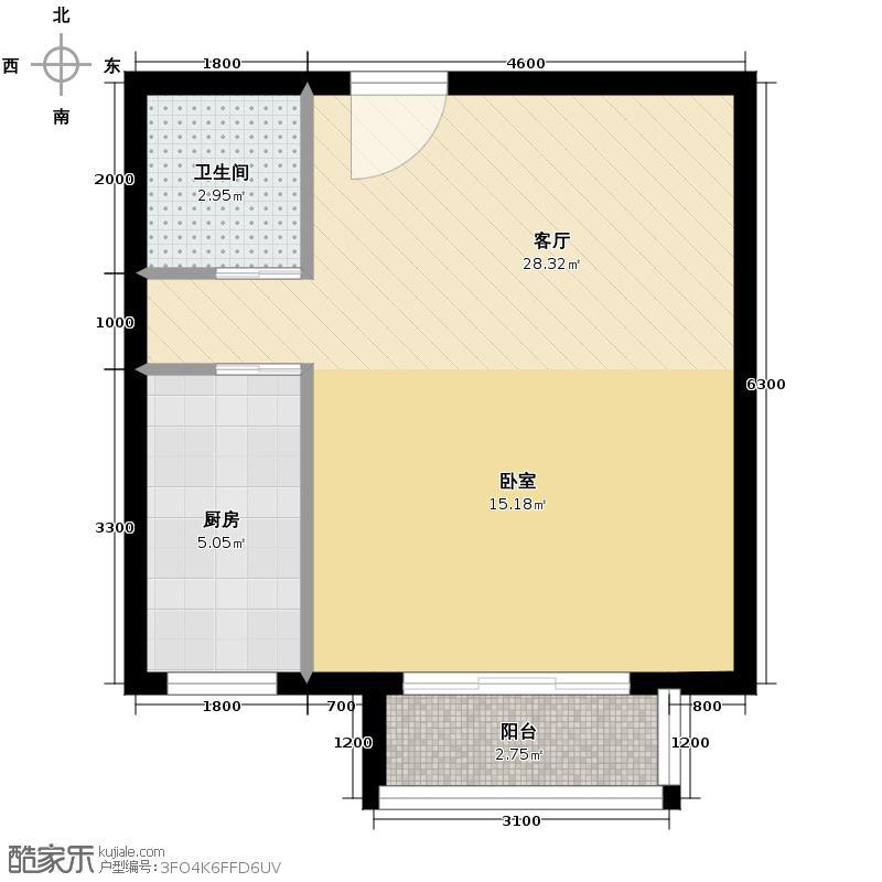 上上城青年社区二期54.09㎡二期第一组团33#J改-2反一居室户型1厅1卫1厨