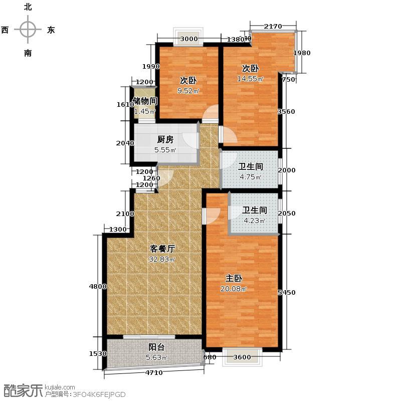上上城青年社区二期130.15㎡12号楼B户型3室1厅2卫1厨