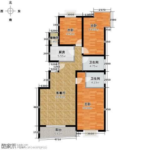上上城青年社区二期3室1厅2卫1厨130.00㎡户型图