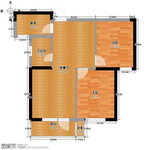 同方广场2室2厅1卫0厨93.00㎡户型图