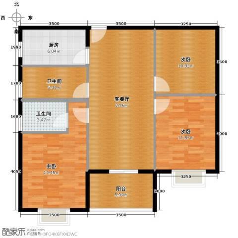 瑞康花园3室1厅2卫1厨114.00㎡户型图