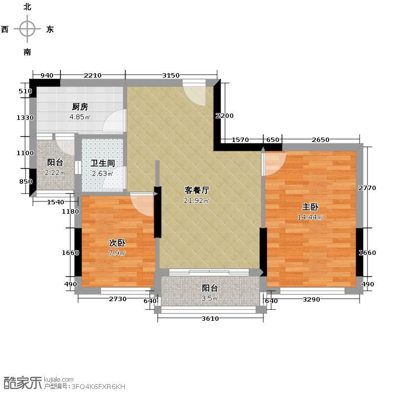 金地格林上院三期66.04㎡户型2室1厅1卫1厨