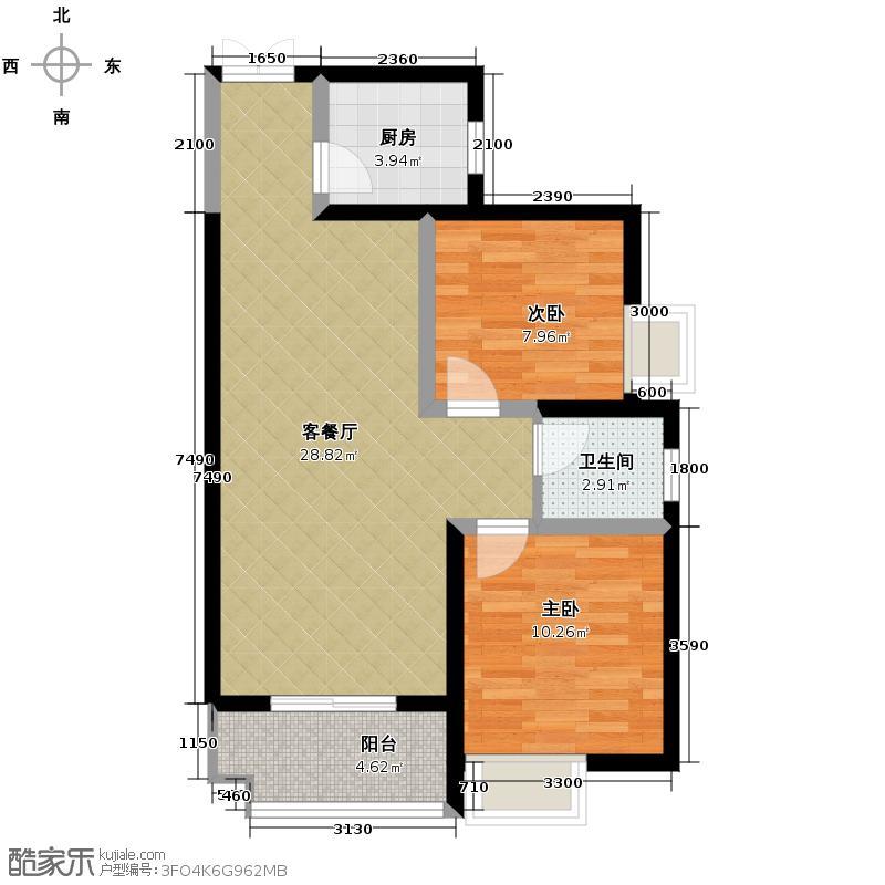 瑞泰卡地亚87.12㎡1/2号楼D户型2室2厅1卫