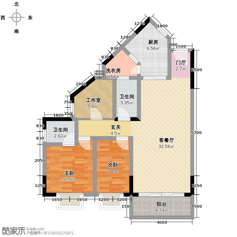 畔月湾广场88.37㎡C2户型2室1厅2卫1厨