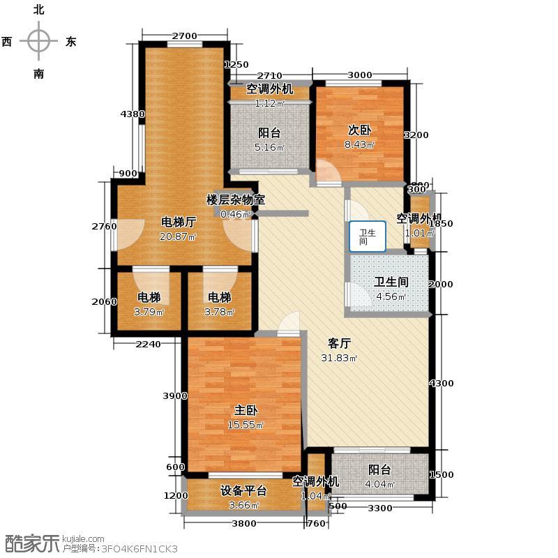 远洋心里90.00㎡F位于11、12号楼户型3室2厅1卫