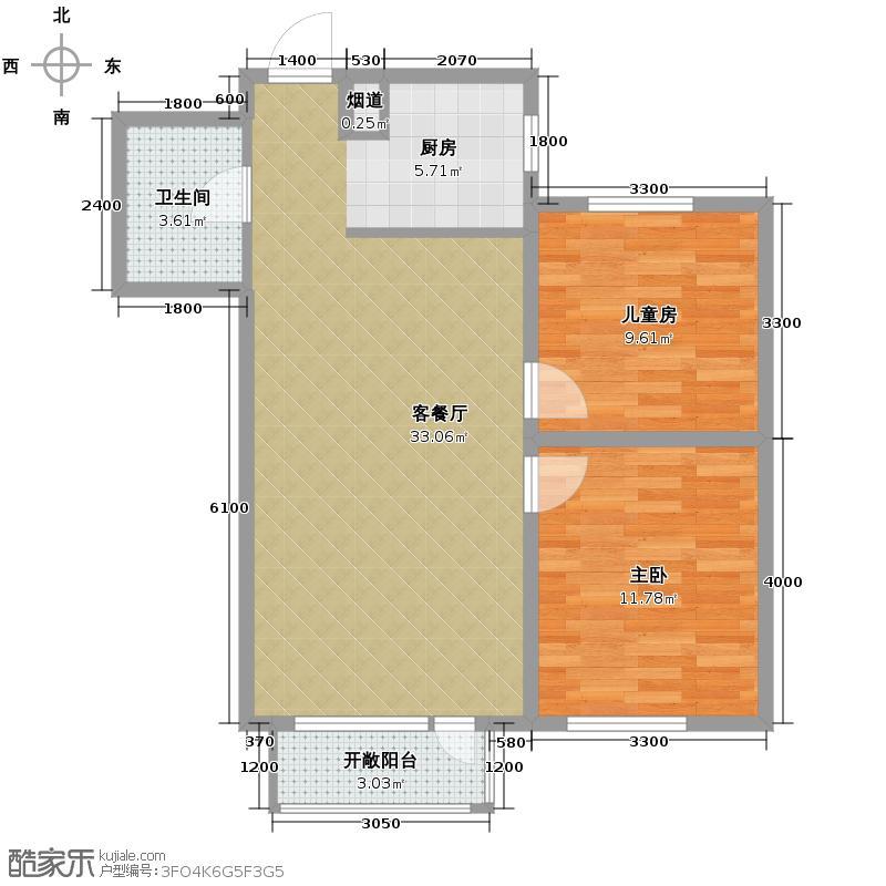 九洲湾景汇85.00㎡E-1户型2室1厅1卫