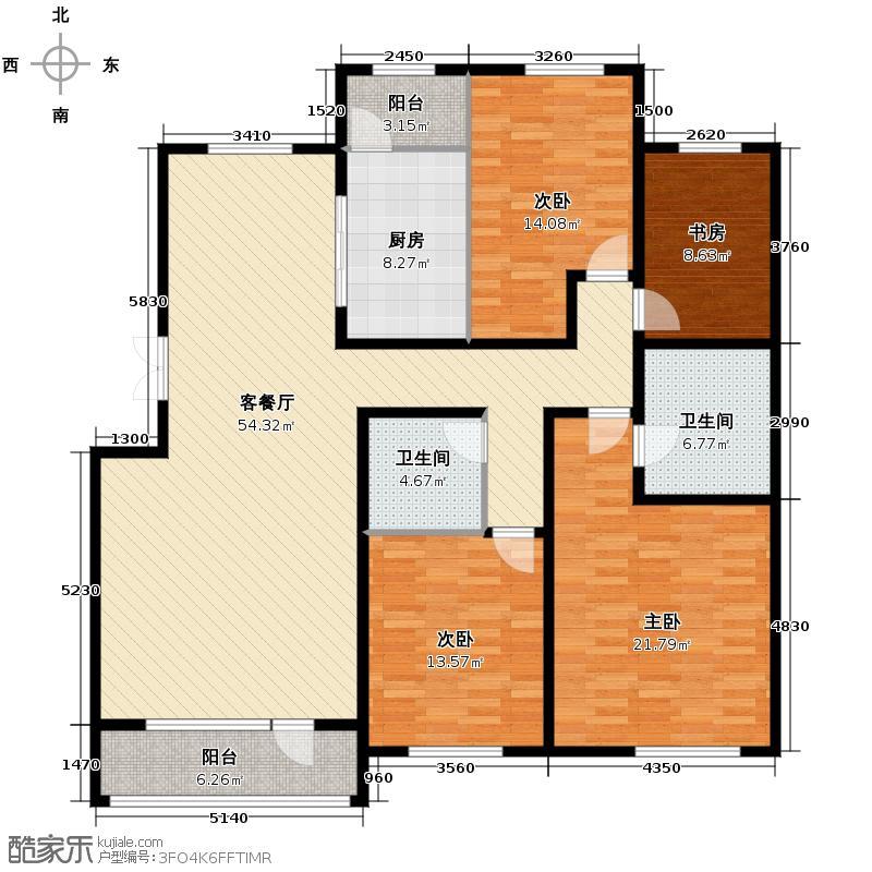 华业玫瑰谷别墅169.00㎡二期洋房12/15号楼H户型3室2厅2卫