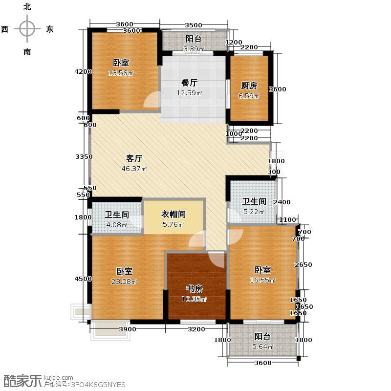 鼎正中央领郡165.00㎡X5、X7西单元西户标准层3室户型3室2厅2卫
