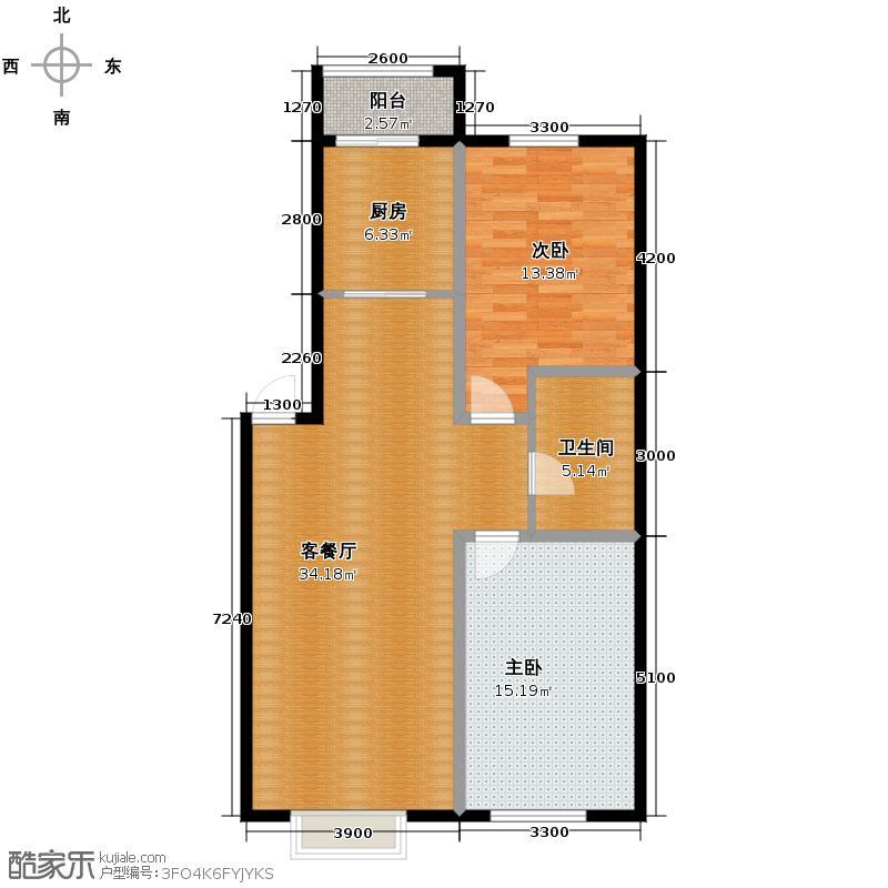 百荷湾99.66㎡F户型2室2厅1卫