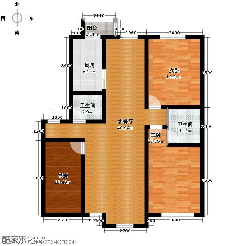 天润中华城132.79㎡F1户型3室2厅2卫