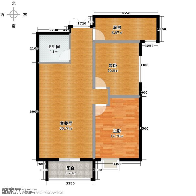 北郡帕提欧98.41㎡2、10号楼D户型2室2厅1卫