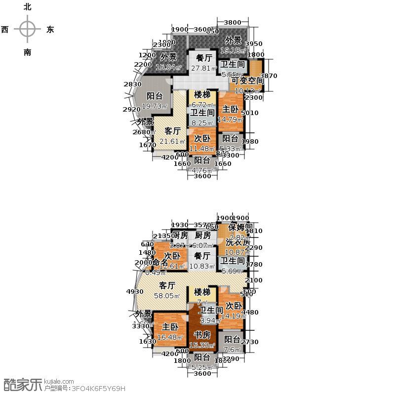 山水泉城374.20㎡16#楼复式+保姆间户型10室