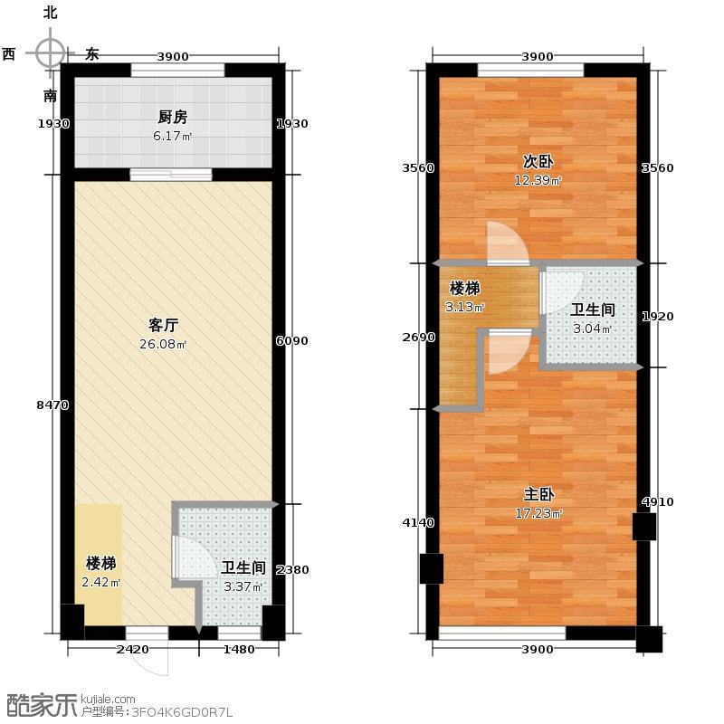 维也纳森林34.32㎡B2跃层户型2室2厅1卫