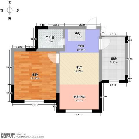 远创金泽锦城2室1厅1卫0厨57.00㎡户型图