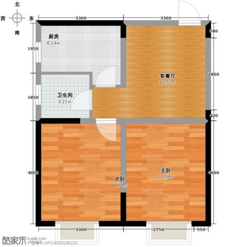 城市玫瑰园2室2厅1卫0厨69.00㎡户型图