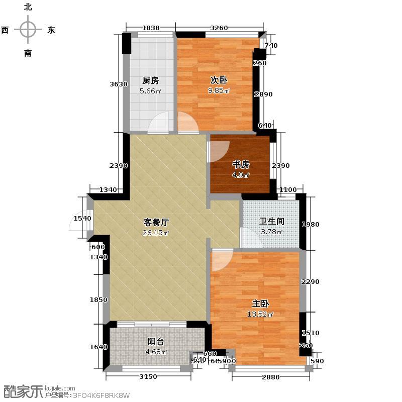 华润橡树湾84.00㎡橡树公寓5E1户型3室2厅1卫