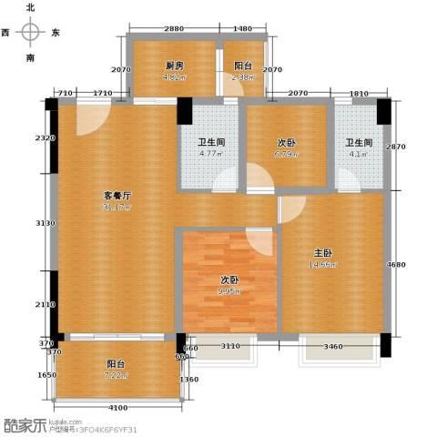 地王广场3室2厅2卫0厨114.00㎡户型图
