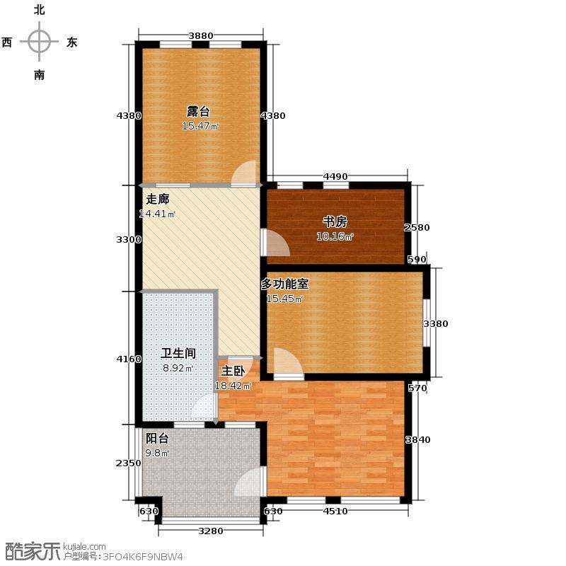 远洋戛纳小镇270.00㎡联排别墅T1三层空间户型1室1厅1卫