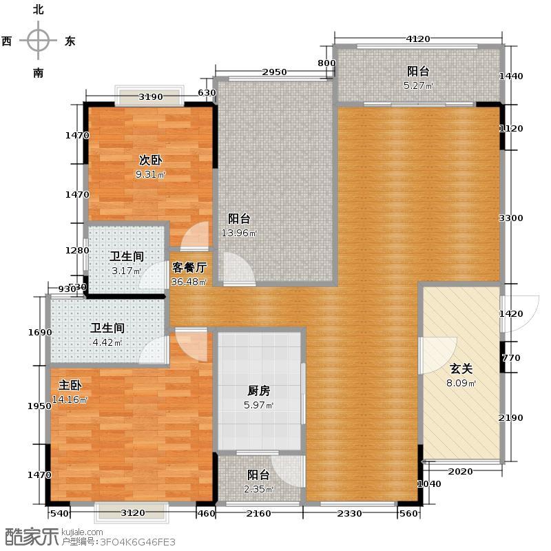 御�上院123.55㎡5座02单位户型3室2厅2卫