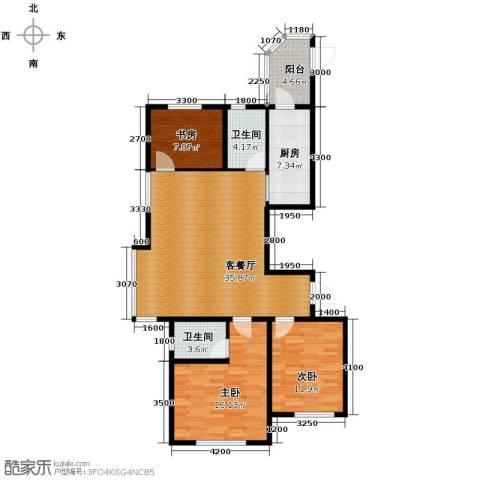 富海澜湾半岛3室2厅2卫0厨128.00㎡户型图
