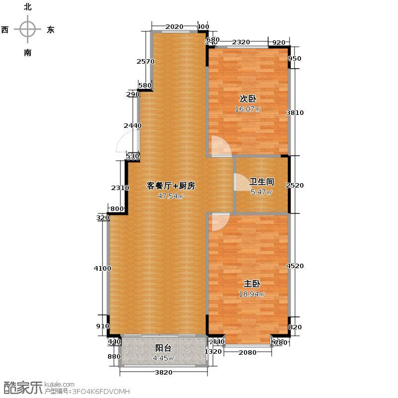 好景山庄107.00㎡D1户型2室2厅1卫