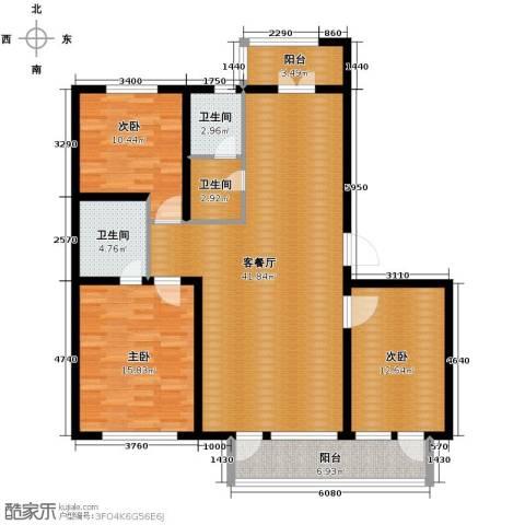 翰逸华园二期3室2厅2卫0厨118.00㎡户型图