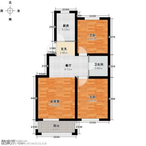 城建南郡2室2厅1卫0厨85.00㎡户型图