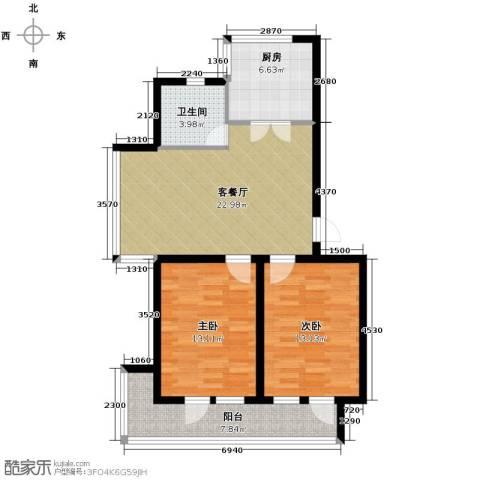 翰逸华园二期2室2厅1卫0厨84.00㎡户型图