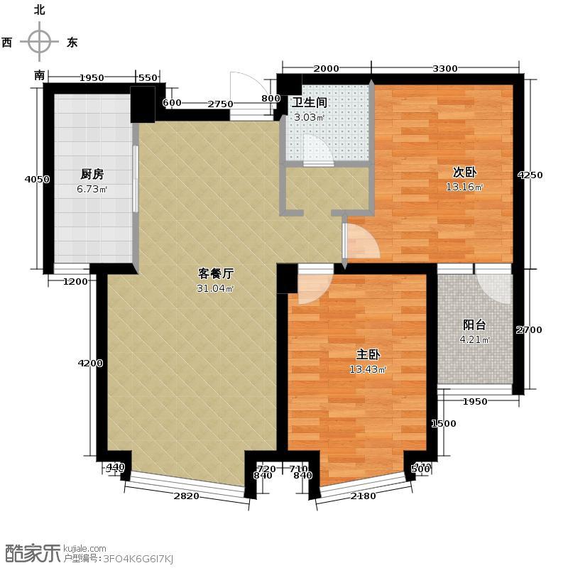 钓鱼台七号77.11㎡已售完户型2室1厅1卫1厨