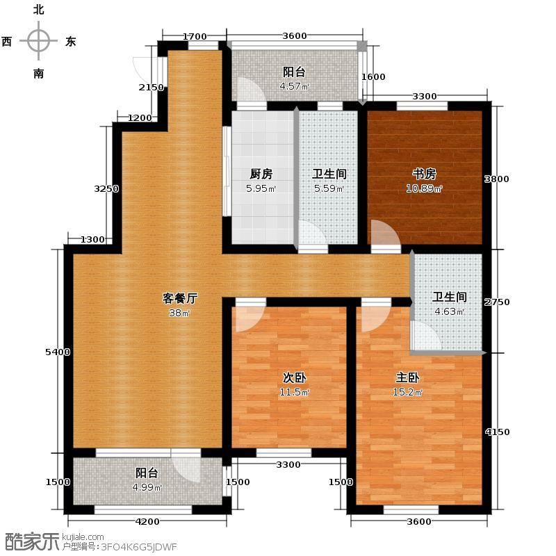 九洲湾景汇133.00㎡B户型3室1厅2卫1厨