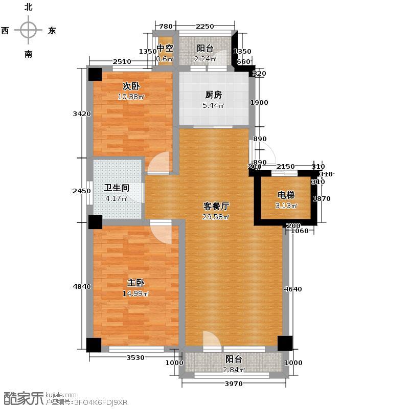 中海金域中央90.00㎡A3户型2室1厅1卫1厨