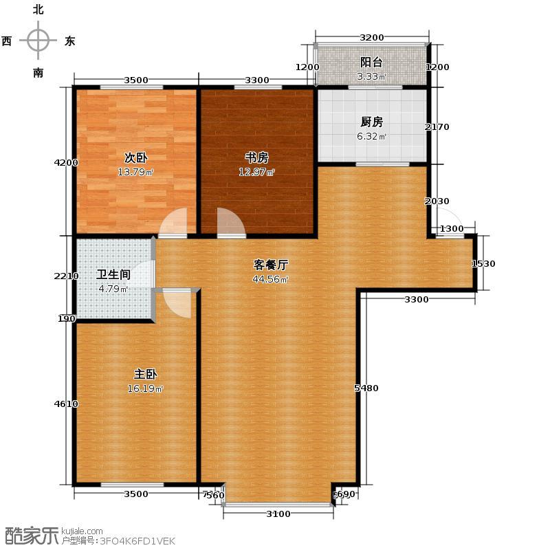 自由花园124.10㎡a户型3室1厅1卫1厨