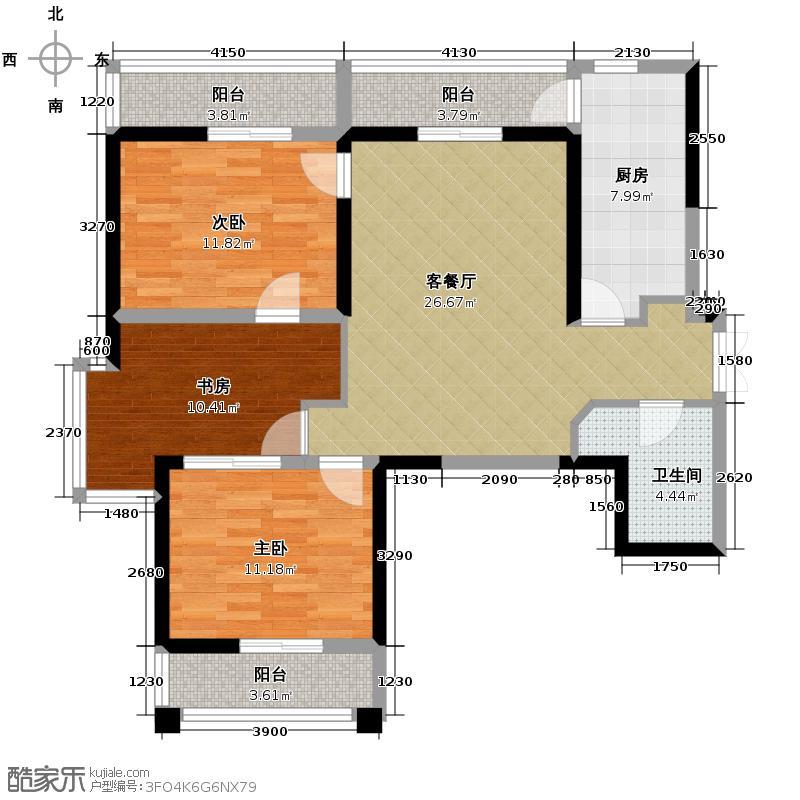 海�台北湾117.00㎡C及样板间效果三阳台户型10室