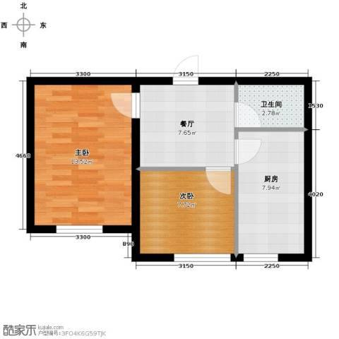 翰逸华园二期2室1厅1卫0厨57.00㎡户型图