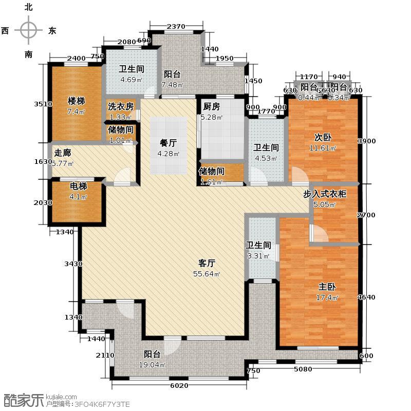 力旺塞歌维亚176.16㎡户型2室1厅3卫1厨