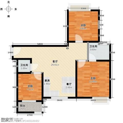 唐品A+3室1厅2卫0厨72.30㎡户型图