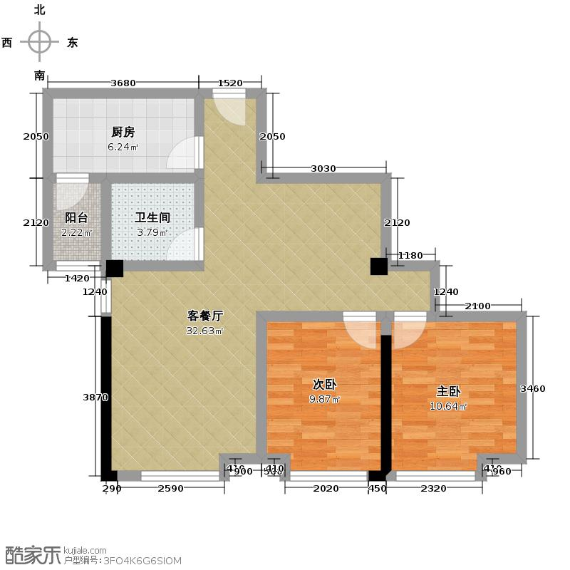 海�国际89.00㎡2期1-F户型2室1厅1卫1厨