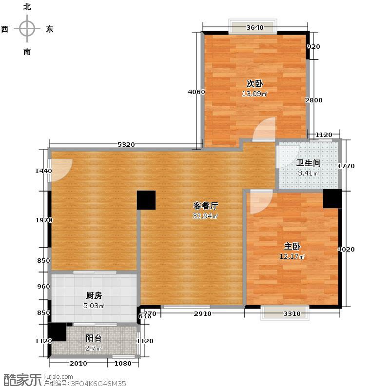 唐品A+82.19㎡在售1号楼2单元标准层6号房户型2室1厅1卫1厨