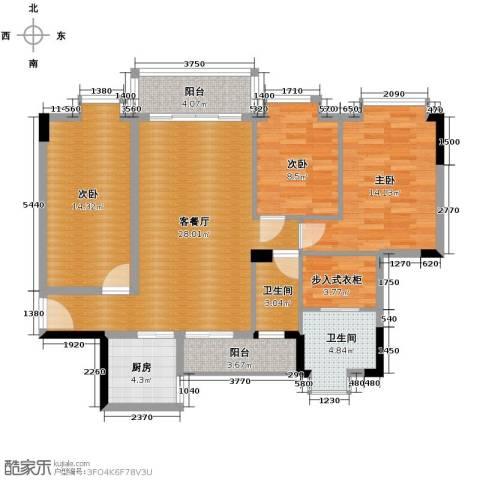 大步海滨花园3室2厅2卫0厨118.00㎡户型图