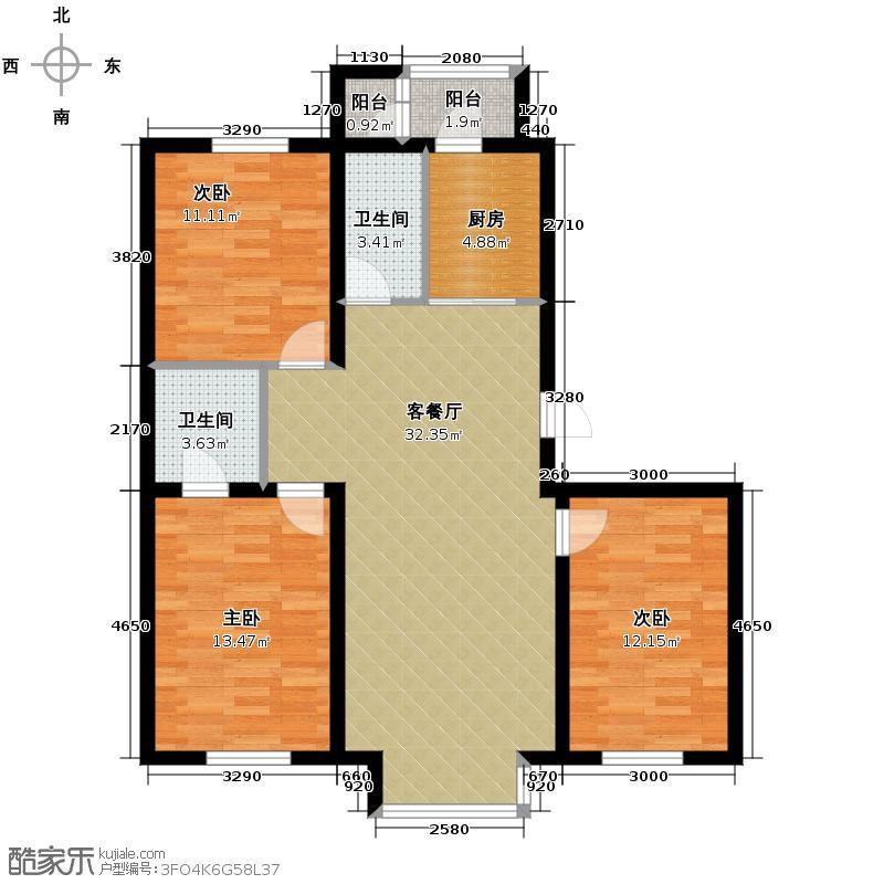 翰逸华园二期117.10㎡F户型3室2厅2卫