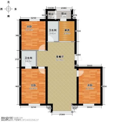 翰逸华园二期3室2厅2卫0厨117.00㎡户型图