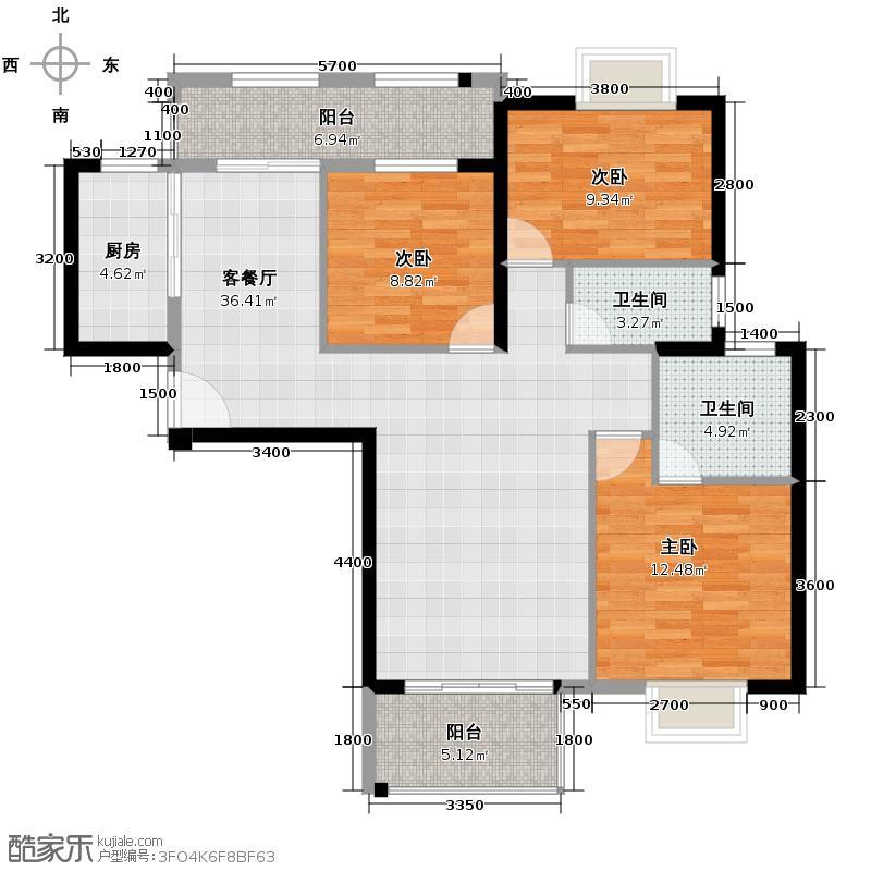 华润橡树湾129.00㎡3J4户型3室2厅2卫
