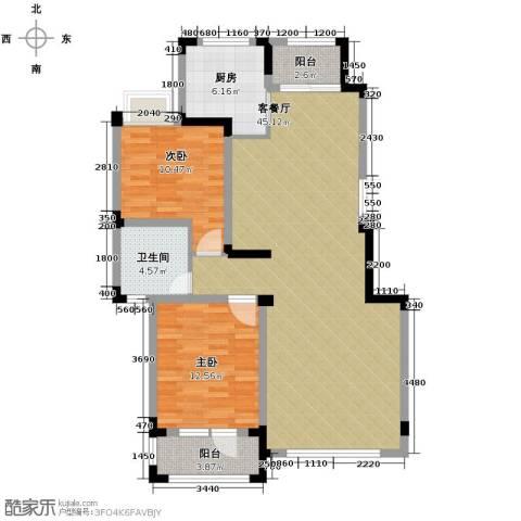 保利香槟2室2厅1卫0厨110.00㎡户型图