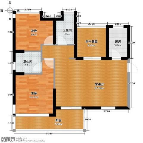 江湾国际2室2厅2卫0厨94.00㎡户型图