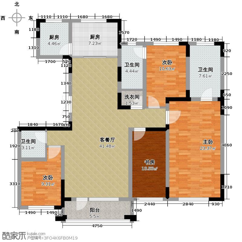 复地康桥180.62㎡三期E户型4室2厅3卫