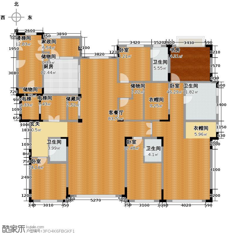 中海紫金苑320.00㎡A户型3室2厅3卫