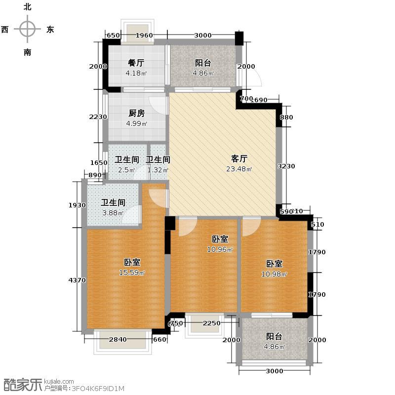 中茵上城国际116.00㎡12#楼2阳台户型3室2厅2卫