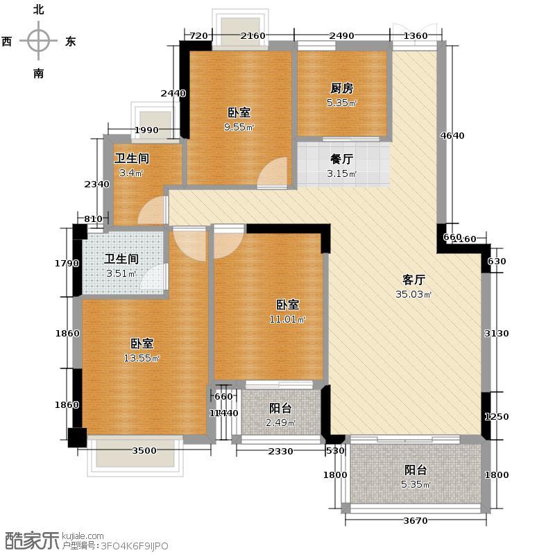 中茵上城国际118.00㎡13#15#楼2阳台户型3室2厅2卫
